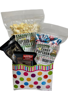 Polka Dots $25.00 Fudge/Popcorn Gift Basket