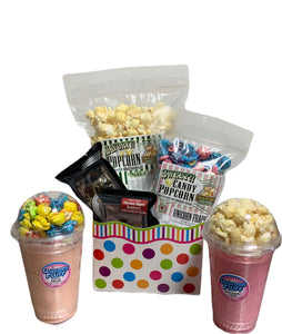 Polka Dots $35 Fudge/Popcorn Gift Basket