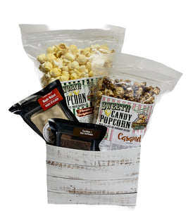 White distressed $25.00 Fudge/Popcorn Gift Basket