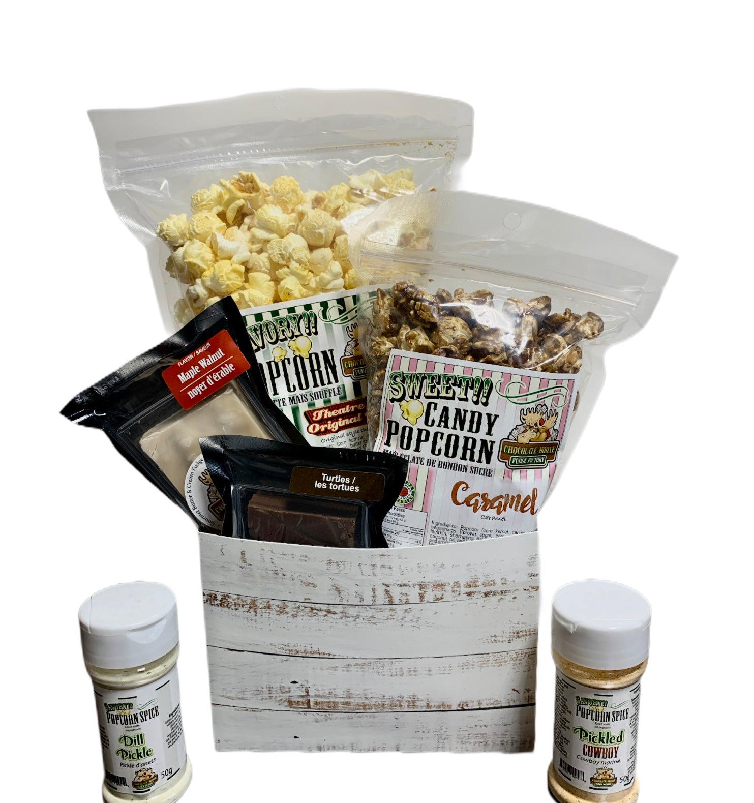 White Distressed $40 Fudge/Popcorn Gift Basket