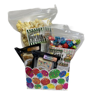Birthday Balloons $25 Fudge/Popcorn Basket