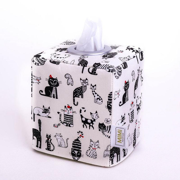 Black cat modern tissue box holder by MIMI Handmade Baskets