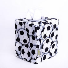 Load image into Gallery viewer, monochrome football soccer ball square tissue box cover, hand made in Australia by MIMI Handmade Baskets