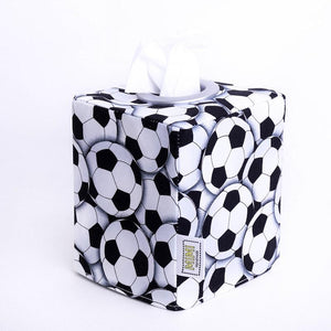 monochrome football soccer ball square tissue box cover, hand made in Australia by MIMI Handmade Baskets