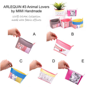 ARLEQUIN #3 Animal Lovers by MIMI Handmade Baskets, Australia, OOAK collection of storage baskets handcrafted with fabric offcuts