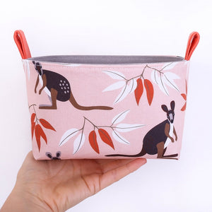 Australiana homewares, Medium Kangaroo storage basket by MIMI Handmade Baskets, NSW Australia