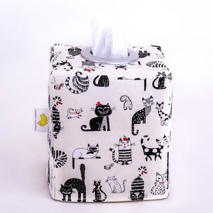 Black cat modern MEOW tissue box holder by MIMI Handmade Baskets