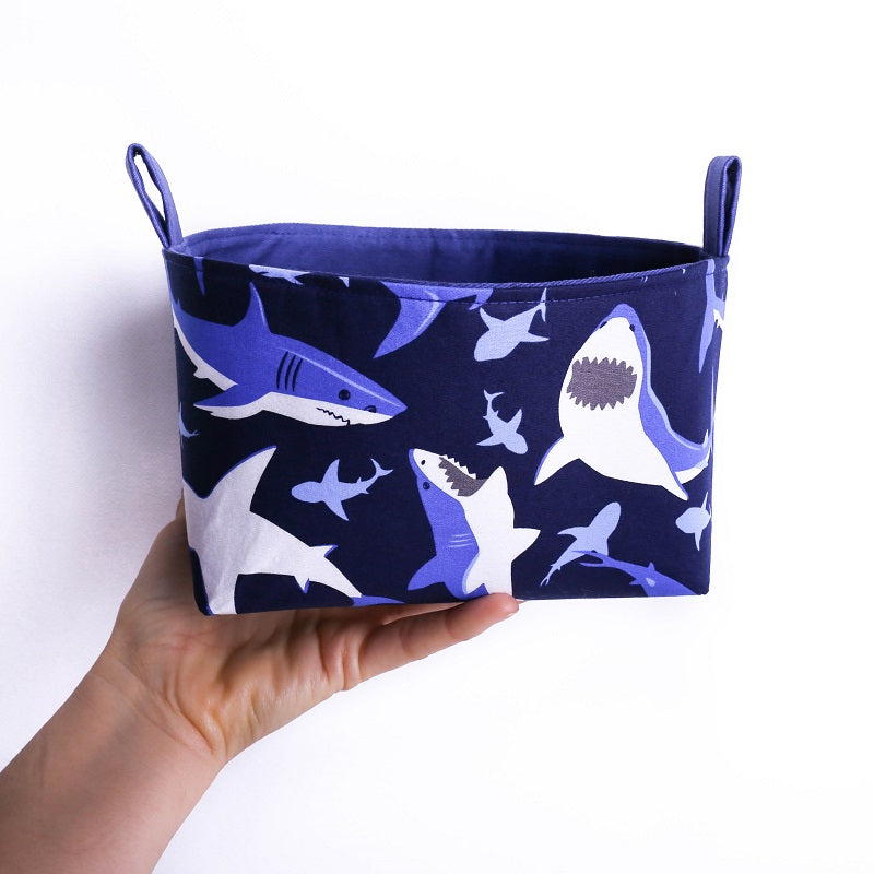 Navy blue shark toy storage basket organiser | MIMI Handmade Baskets NSW Australia