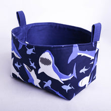 Load image into Gallery viewer, blue shark toy storage basket organiser | MIMI Handmade Baskets NSW Australia