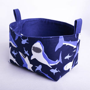 blue shark toy storage basket organiser | MIMI Handmade Baskets NSW Australia