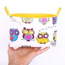 Load image into Gallery viewer, Funny owl storage basket to organise your nursery. CRAZY OWLS - Handmade on the Central Coast, NSW Australia by MIMI Handmade.