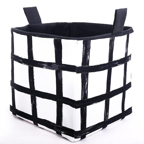 black and white canvas cube storage basket with two handles for shelves
