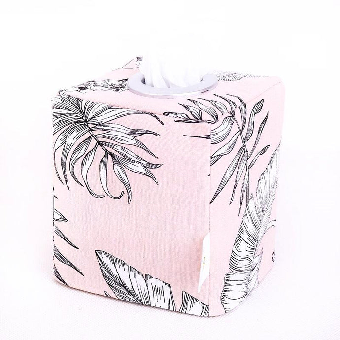 Tropical tissue box cover - SOFT PINK BOTANICAL - Handmade on the Central Coast, NSW Australia by MIMI Handmade.