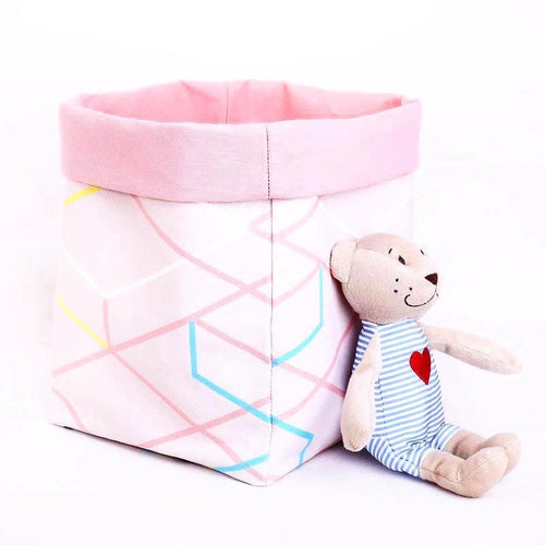 large reversible baskets by MIMI Handmade Baskets cream pastel pink geometric pattern soft toy storage bin