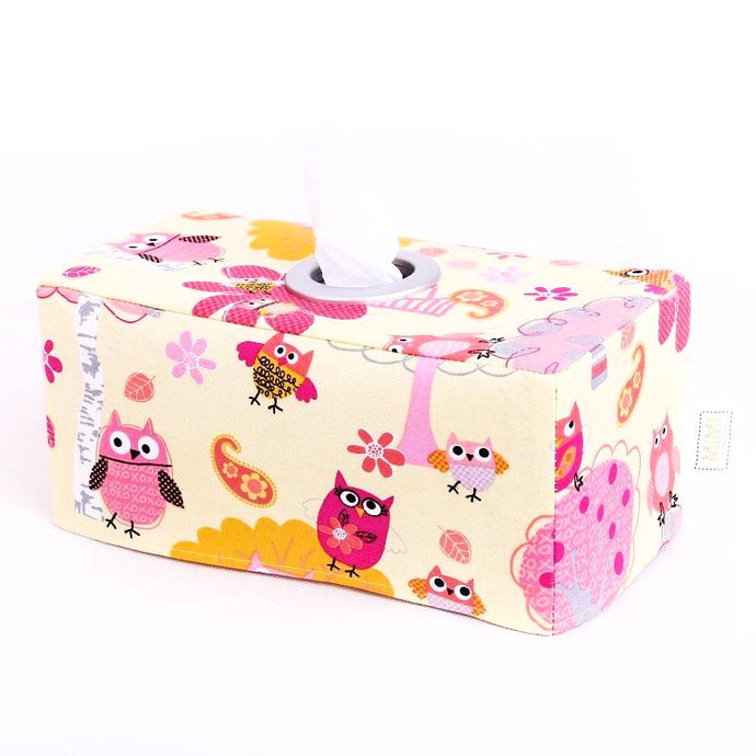 Tissue Box Cover - YELLOW OWLS