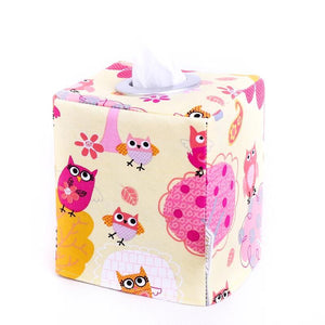 Small Tissue Box Cover - YELLOW OWLS