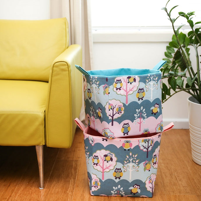 Large-pink-and-blue-owl-cube-storage-basket-27x27x27cm-toy-box-living-room