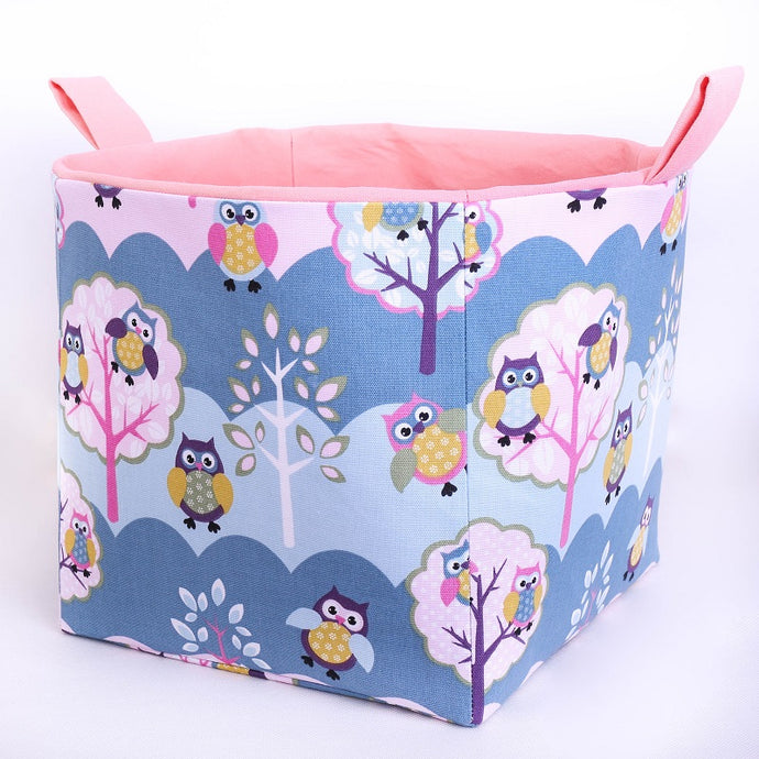 PASTEL OWL (pink or blue) - Large Cube Storage Basket 27cm x 27cm