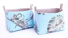 Load image into Gallery viewer, Blue storage baskets to organise your home. BLUE BOTANICAL LEAF Handmade on the Central Coast, NSW Australia by MIMI Handmade.