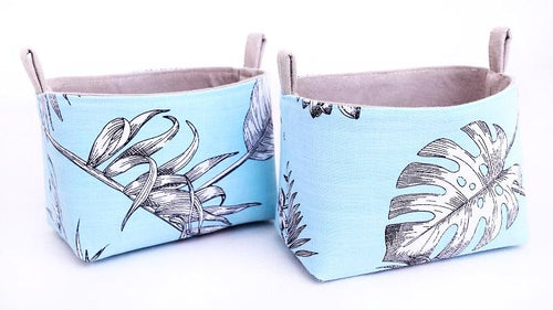 Blue storage baskets to organise your home. BLUE BOTANICAL LEAF Handmade on the Central Coast, NSW Australia by MIMI Handmade.
