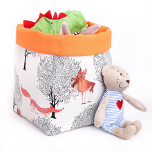 Load image into Gallery viewer, Woodland animal storage baskets to organise your nursery. INTO THE WOODS - fox, bear, elks deer. Handmade on the Central Coast, NSW Australia by MIMI Handmade.
