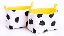 Load image into Gallery viewer, Set of 2 JOY storage baskets by MIMI Handmade Baskets| black dots yellow cheetah print | handcrafted in Australia
