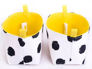 Side view of set of 2 JOY storage baskets by MIMI Handmade Baskets| black dots yellow cheetah print | handcrafted in Australia