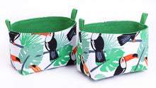 Load image into Gallery viewer, Set of 2 tropical toucan basket by MIMI Handmade Baskets, Australia
