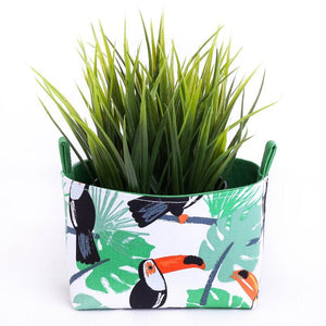 Green tropical decor toucan basket, plant pouch by MIMI Handmade Baskets, Australia