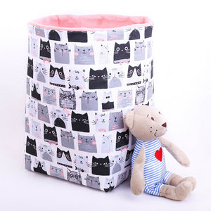 large reversible basket, monochrome cats print, pastel pink, toy storage box