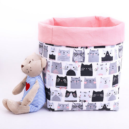 large reversible basket, black and grey cats, pastel pink, toy storage box