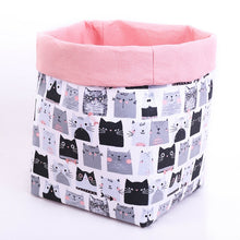 Load image into Gallery viewer, large reversible basket with cute black and grey cats, pastel pink top fold, toy storage box