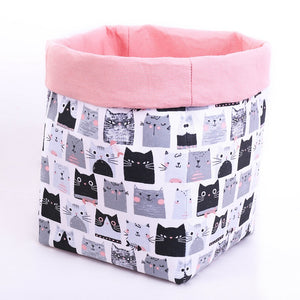 large reversible basket with cute black and grey cats, pastel pink top fold, toy storage box