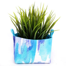 Load image into Gallery viewer, Fun storage baskets - BLUE WATERCOLOUR - Handmade on the Central Coast, NSW Australia by MIMI Handmade. Plant Pouch.