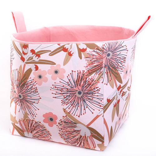 Large cube toy storage basket Australiana Collection by MIMI Handmade Baskets Australia