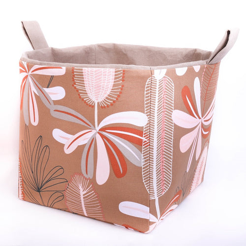 Large cube toy storage basket pink browm native flowers beige pink Australiana Collection by MIMI Handmade Baskets Australia