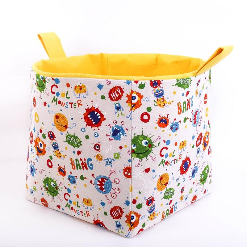 Large toy storage basket by MIMI Handmade Baskets Australia,  yellow cool monsters cube