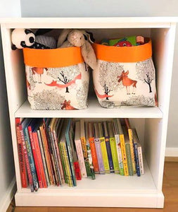 Woodland animal storage baskets to organise your nursery. INTO THE WOODS - fox, bear, elks deer. Handmade on the Central Coast, NSW Australia by MIMI Handmade.