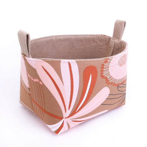 Medium AUSTRALIANA storage basket organiser pouch by MIMI Handmade Baskets, NSW Australia, floral, native flowers, banksia, geometric flower, beige terracotta, pink