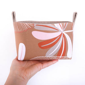 Medium AUSTRALIANA storage basket organiser pouch by MIMI Handmade Baskets, Australia, floral, native flowers, banksia, geometric flower, beige terracotta, pink