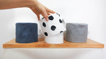 Load image into Gallery viewer, Modern toilet roll cover by MIMI Handmade Baskets - luxury 5 star bathroom linen grey blue black dots