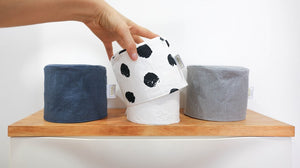 Modern toilet roll cover by MIMI Handmade Baskets - luxury 5 star bathroom linen grey blue black dots