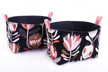 Load image into Gallery viewer, Native flowers black pink protea Australiana Collection by MIMI Handmade set of 2 Baskets Australia
