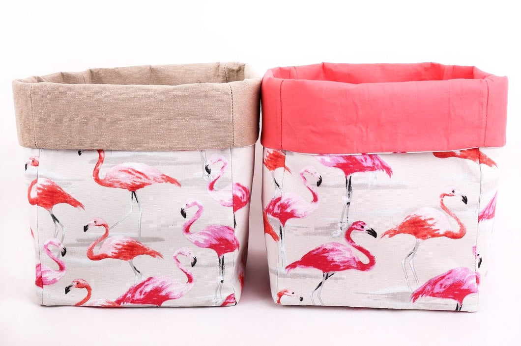 Large storage bin for the nursery | Pink flamingo with pink or beige folding top