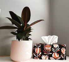 Load image into Gallery viewer, Protea tissue box cover holder with ficus plant | Native Australian flowers, black, pink | Designed and handcrafted by MIMI Handmade, Australia
