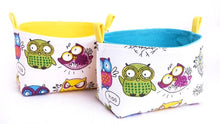 Load image into Gallery viewer, Fun storage baskets - CRAZY OWLS - Handmade on the Central Coast, NSW Australia by MIMI Handmade.