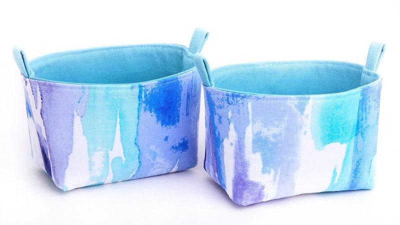 Fun storage baskets - BLUE WATERCOLOUR - Handmade on the Central Coast, NSW Australia by MIMI Handmade.