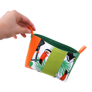 Small green and orange toucan tropical fabric organiser storage basket, patchwork OOAK Collection by MIMI Handmade Baskets Australia