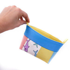 Small multicolour shark fabric storage basket for kids, pink, yellow, blue organiser, ARLEQUIN OOAK Collection by MIMI Handmade Baskets Australia