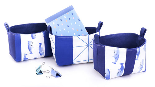 Set of 3 small whale dark blue fabric organisers storage baskets with notepad, foldback clips, patchwork OOAK Collection by MIMI Handmade Baskets Australia